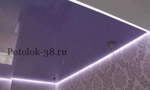 Парящий натяжной потолок в спальне 2